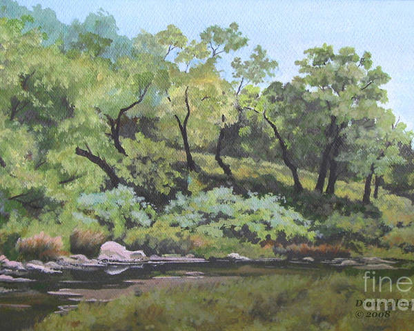 Nature Poster featuring the painting Dreaming By The Creek by Diane Ellingham