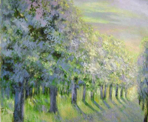 Landscape Poster featuring the painting Dreamy Trees by Lian Zhen