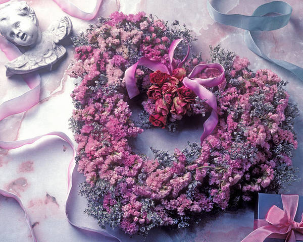 Heart Poster featuring the photograph Dried Flower Heart Wreath by Garry Gay