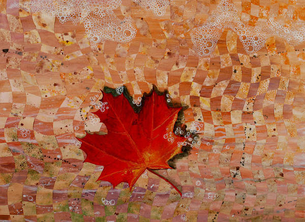 Maple Leave Poster featuring the painting Drifting by Linda L Doucette