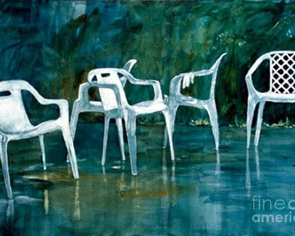 Lawn Chairs Poster featuring the painting Drip Dry by Elizabeth Carr