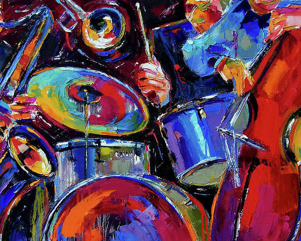 Jazz Poster featuring the painting Drums And Friends by Debra Hurd