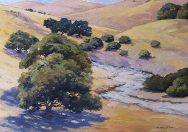 Landscape Poster featuring the painting Dry Creek by Maralyn Miller