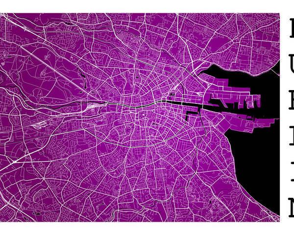 Street Map Of Ireland.Dublin Street Map Dublin Ireland Road Map Art On Purple Background Poster