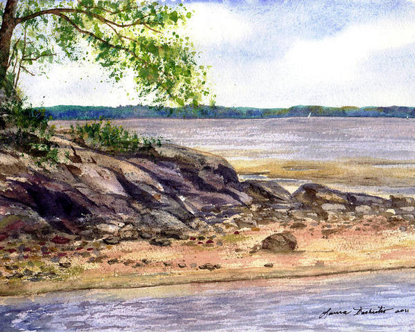 Maine Poster featuring the painting Duck Trap River Outlet by Laura Tasheiko