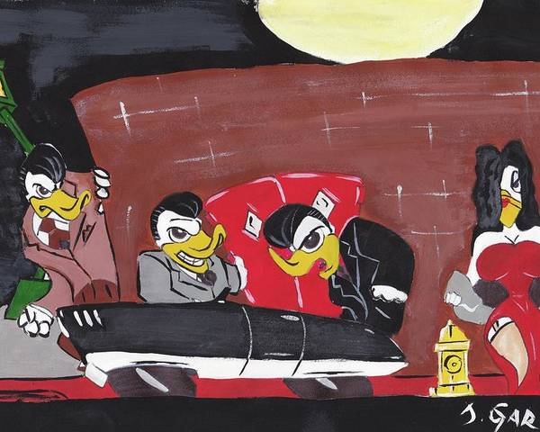 Rockabilly Poster featuring the painting Duckie Nights by Jose Garcia