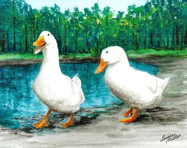 Poster featuring the painting Ducks By The Pond by Louise Miller