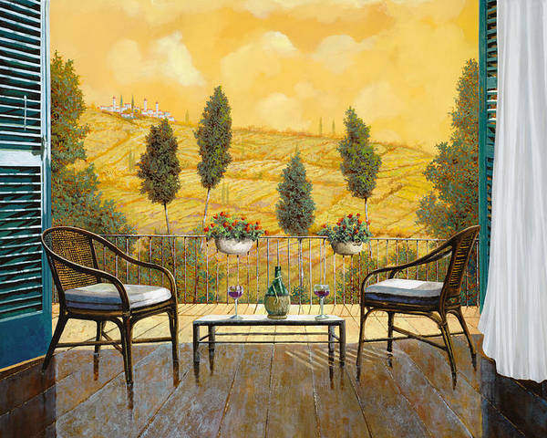 Terrace Poster featuring the painting due bicchieri di Chianti by Guido Borelli