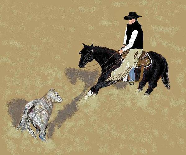Horses Poster featuring the digital art Duet by Carole Boyd