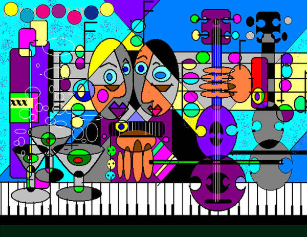 Music Poster featuring the digital art Duets by George Pasini