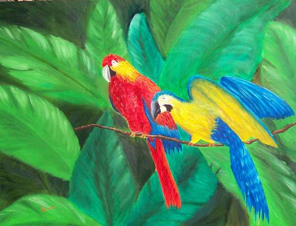 Birds Poster featuring the painting Duo by Sandy Hemmer