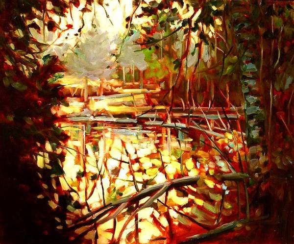 Landscape Paintings Poster featuring the painting Durance Lake by Brian Simons