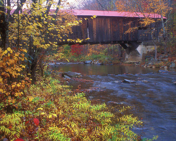 New Hampshire Poster featuring the photograph Durgin Covered Bridge Sandwich by John Burk