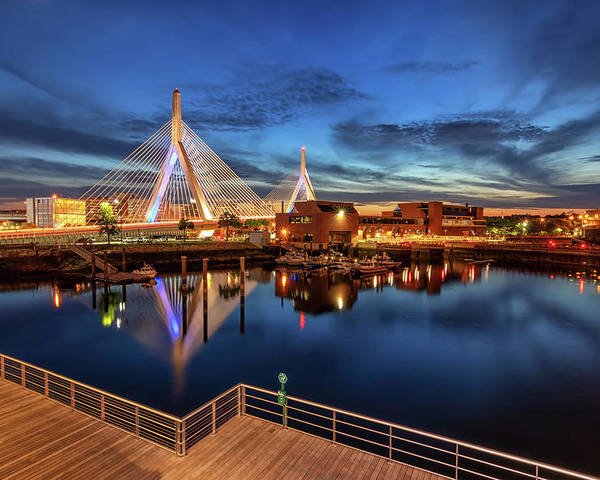 Boston Poster featuring the photograph Dusk At The Zakim Bridge by Kristen Wilkinson