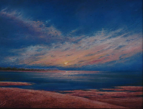 Dark Dusk Poster featuring the pastel Dusk Over Distant Ocean City by Deb Spinella