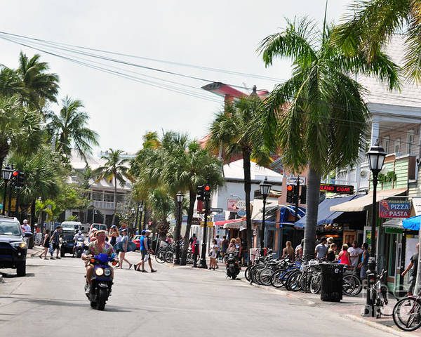 Key West Florida Poster featuring the photograph Duval St. by Davids Digits