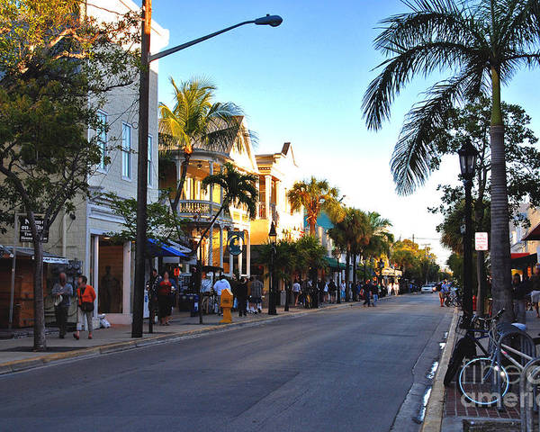 Key West Poster featuring the photograph Duval Street In Key West by Susanne Van Hulst