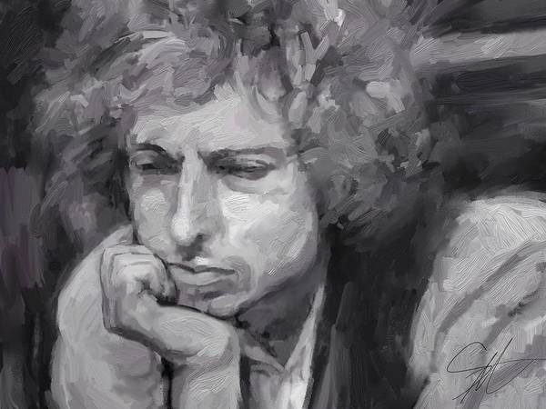 Bob Dylan Music Portrait Musician Rock Poster featuring the digital art Dylan by Scott Waters