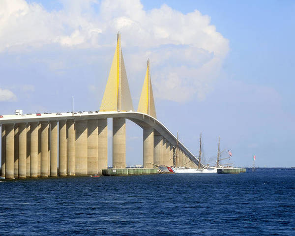 Sunshine Skyway Bridge Poster featuring the photograph Eagle Under The Sunshine by David Lee Thompson