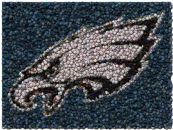 Philly Poster featuring the mixed media Eagles Bottle Cap Mosaic by Paul Van Scott