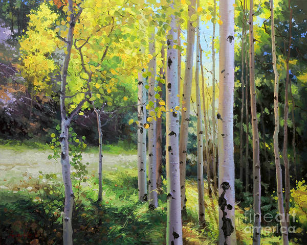 Aspen Tree Poster featuring the painting Early Autumn Aspen by Gary Kim