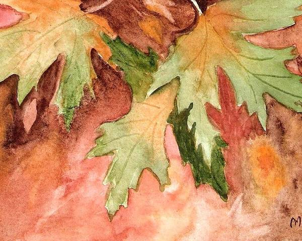 Autumn Fall Leaves Painting Green Gold Orange Yellow Red Watercolor Poster featuring the painting Early Autumn by Marsha Woods