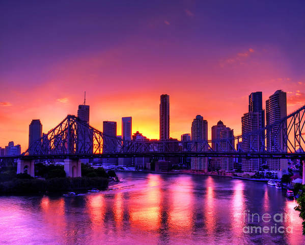 Brisbane Poster featuring the photograph Early Brisbane Sunset With Purple And Yellow Sky by Chris Smith