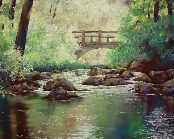 Landscape Poster featuring the pastel Early Morning at Gulpha Gorge by Marlene Gremillion