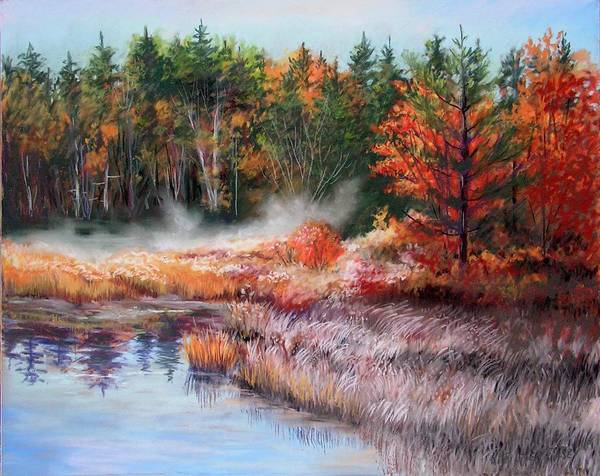 Fall In Nh Poster featuring the painting Early Morning Fog by Nita Leger Casey