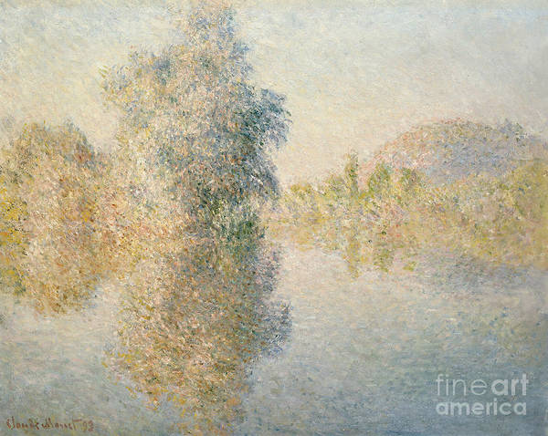 Impressionism; Impressionist; Landscape; River; Tree; Reflection; Water; French Poster featuring the painting Early Morning On The Seine At Giverny by Claude Monet