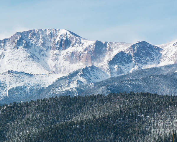 Pikes Peak Poster featuring the photograph Early Morning Snow On Pikes Peak by Steve Krull