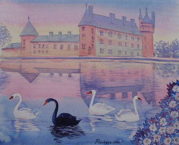 Landscape Poster featuring the painting Early Morning Upon A Manor Lake.landscape Of France. by Natalia Piacheva