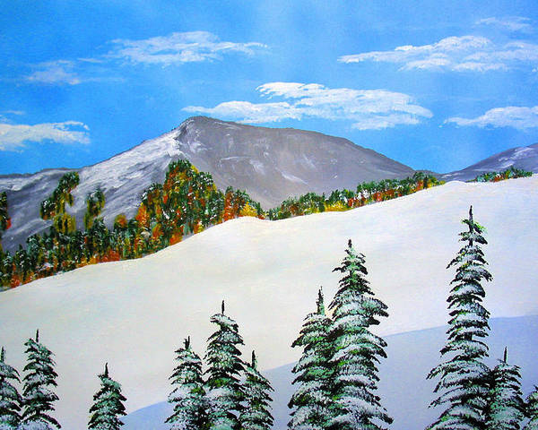 Snow Sierra Mountains Ridgeline Early Trees Fall Nature Poster featuring the painting Early Sierra Snow At Ridgeline by Ed Moore