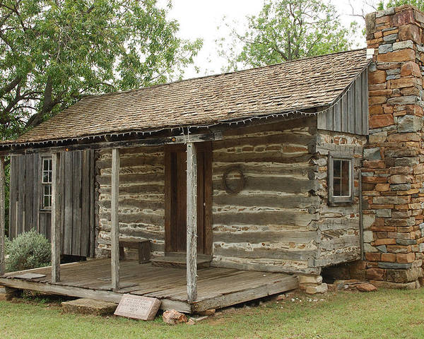 Texas Poster featuring the photograph Early Texas Cabin by Robert Anschutz