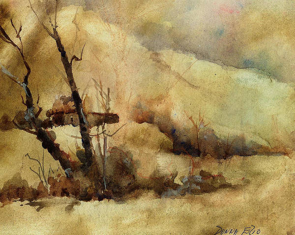 Watercolor. Impressionist. Landscape Poster featuring the print Early Winter by Donna Elio