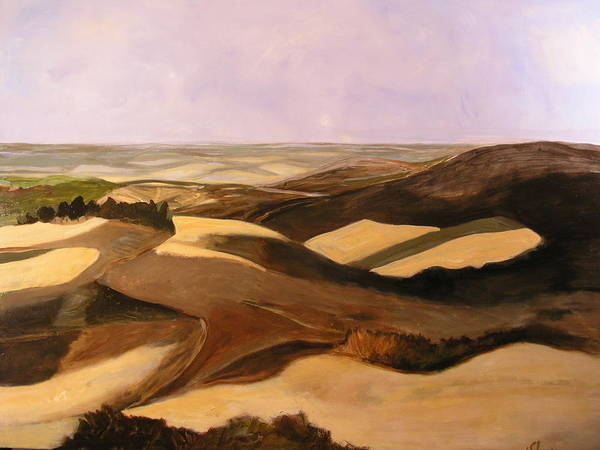 Landscape Poster featuring the painting Earth And Dunes by Lena Shugar