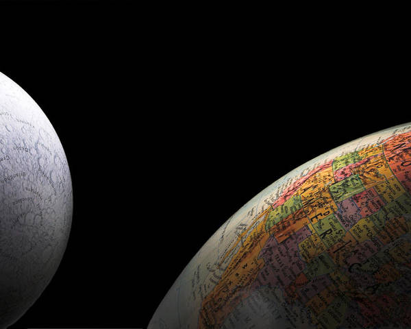 Globe Poster featuring the photograph Earth And Moon by Rob Byron