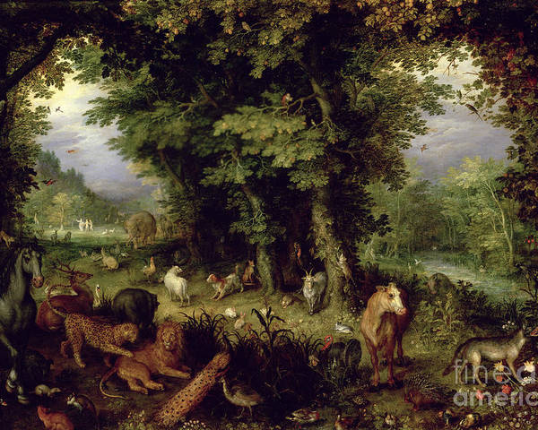 Animal; Animals Poster featuring the painting Earth Or The Earthly Paradise by Jan the Elder Brueghel