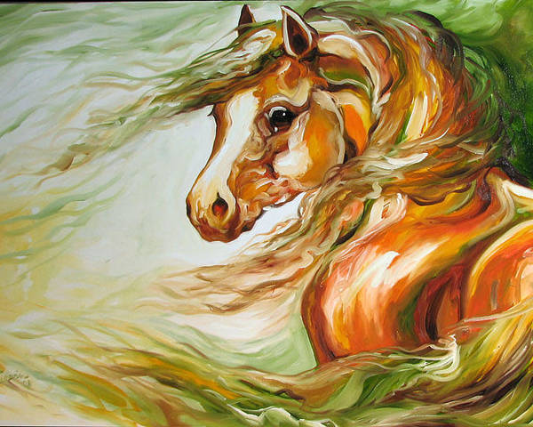 Horse Poster featuring the painting Earth Wind And Fire 2  Sold by Marcia Baldwin