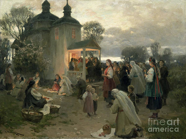 Easter Matins (oil On Canvas) By Nikolai Pimonenko (1862-1912) Poster featuring the painting Easter Matins by Nikolai Pimonenko