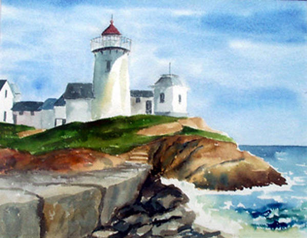 Landscape Poster featuring the print Eastern Point Light by Anne Trotter Hodge