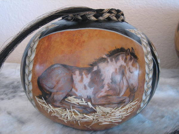 Gourd Poster featuring the pyrography Echo by Barbara Prestridge