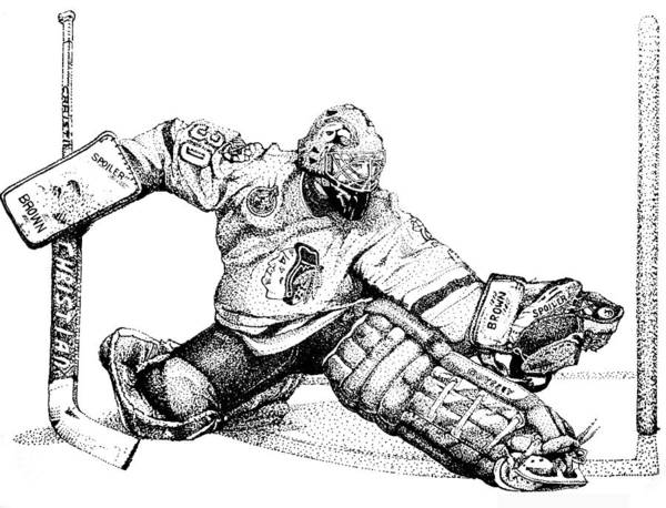 Ed Belfour Poster featuring the drawing Ed Belfour by Steve Benton