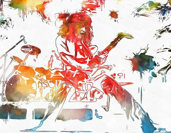 Eddie Van Halen Paint Splatter Poster featuring the painting Eddie Van Halen Paint Splatter by Dan Sproul
