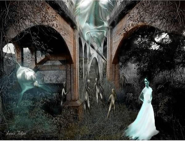 Eden Surreal Creatures Bridges Dreaming Poster featuring the digital art Eden by Veronica Jackson