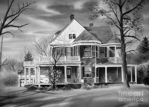Grayscale Poster featuring the painting Edgar Home Bw by Kip DeVore