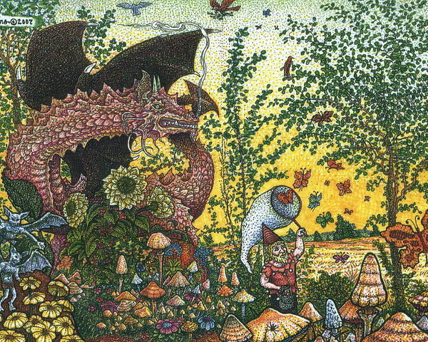 Dragon Poster featuring the drawing Edge Of The Fairy Ring by Bill Perkins
