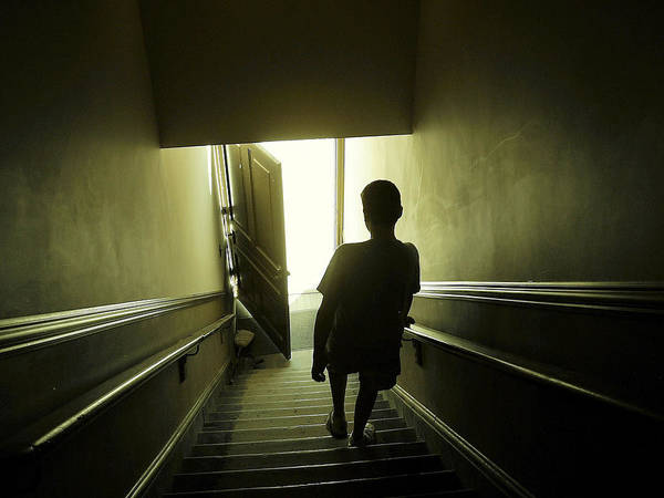 Child Poster featuring the photograph Eerie Stairwell by Scott Hovind