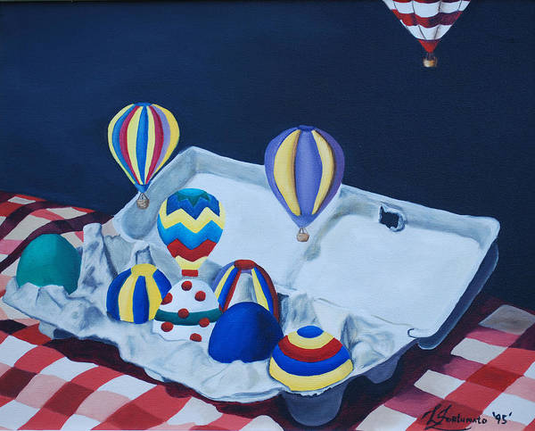 Eggs Poster featuring the painting Egg Balloons by Lisa Gabrius
