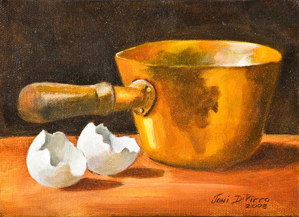 Pot Poster featuring the painting Eggshell by Joni Dipirro